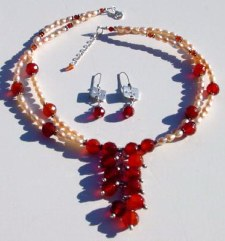 Carnelian and Freshwater Pearls