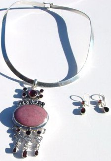 Rhodonite and Garnet Pendant