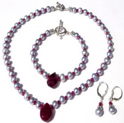 <b>Fresh water Pearls,<b> <br> Ruby, Sterling Silver Necklace<imagge boder=0 scr=/http://cbdesigns.tripod.com/54d1f0c0.gif width=26 height=13>