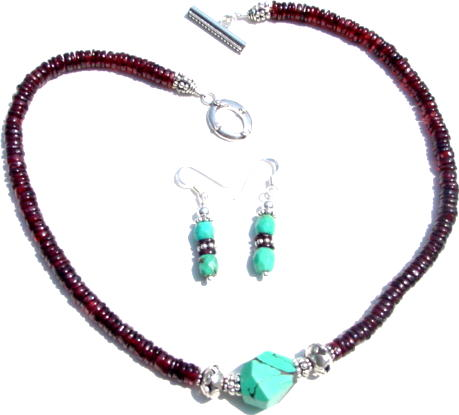 Garbet and Turquoise Necklace set