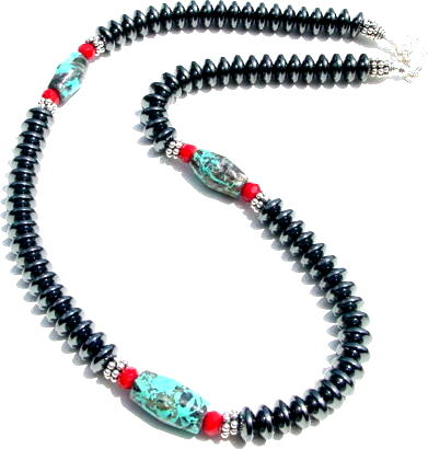 Hematite Coral and Turquoise Necklace