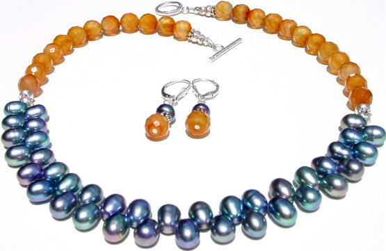 Peacock Pearls with Carnelian Necklace