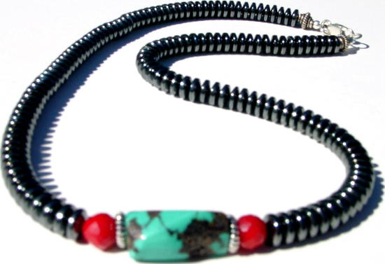 Hematite and Turquoise MN - HTC10105   $49.00