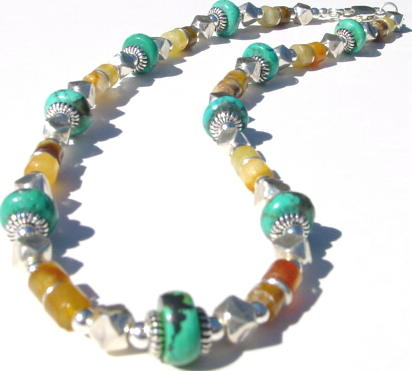 Turquoise Jade and Sterling Silver MN - JADE10105   $69.00