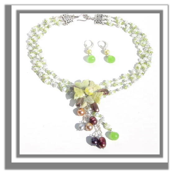 Wirewrapped Pearls and Peridot Necklace N_PPN32806     $135.00