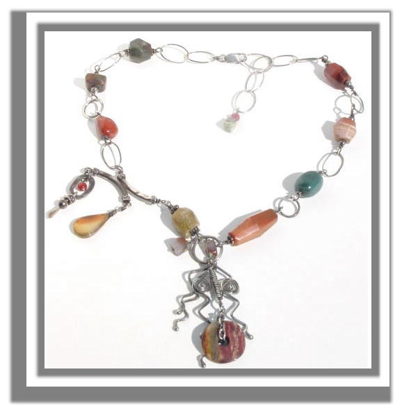 wirewrapped gemstone necklace N_WGN32906         $95.00