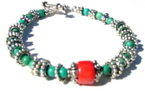 Turquoise and Coral Bracelet B_TCB121205     $49.00