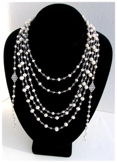 Pearls and Crystal Beaded Necklace.JPG N -FRNG092206    $98.00