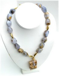 Chalcedony Nuggets Beaded  Necklace.JPG N_CHWI092206      $189.00