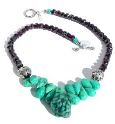 Garnet and Turquoise Beaded Necklace.JPG N_GTBN92906          $155.00