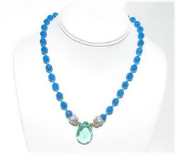 Blue Chalcedony Beaded Necklace.JPG N_BCB092906      $50.00