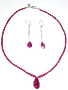 Ruby Bead Necklace Set N_RUBY13107   $135.00