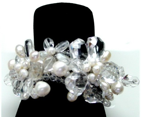 Rock Crystal and Pearls Bracelet B_CRY2C13107       $180.00