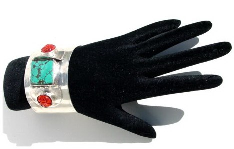 Turquoise and Coral Cuff Bracelet.JPG B_CFTRQ92706          $194.00