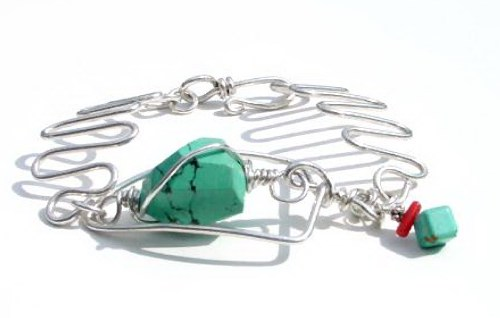 Chunky Turquoise Wire Bracelet