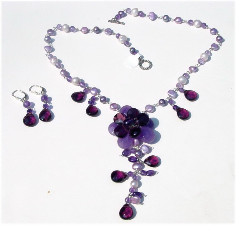Amethyst Rose Necklace Set
