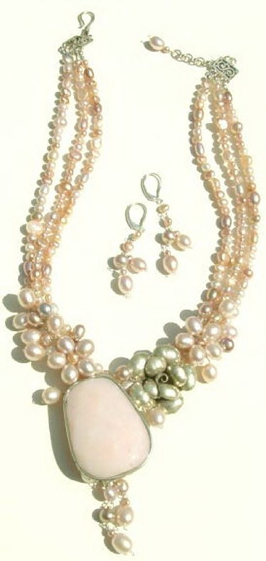 Tripple Strands Pink Pearls Necklace