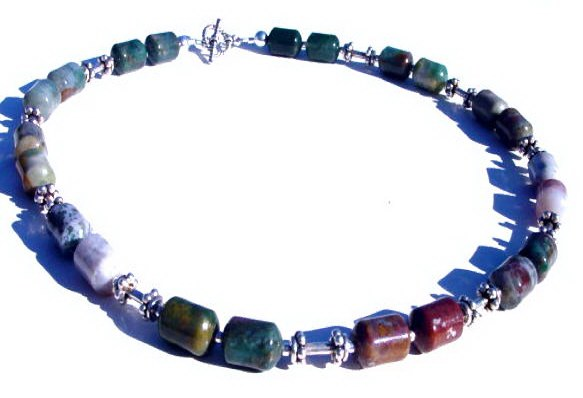 Fancy Agate and Sterling Silver Necklace