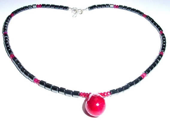 Mens Ruby Beaded Necklace