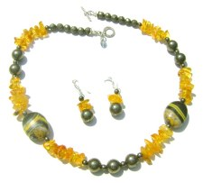 Amber and Turquoise Necklace Set