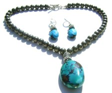 Pyrite and Turquoise Necklace Set