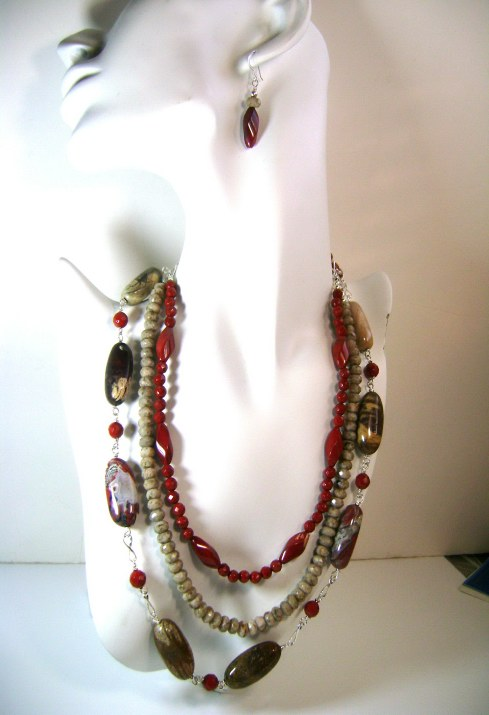 Three Strands Jasper Necklace