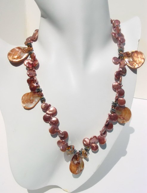 Golden Copper Pearl and Crystal Necklace