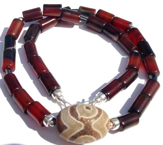 Men's DZI Pendant and Agate Necklace
