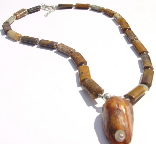Men's Bamboo Jasper and fosill pendant Necklace MN - MBJF90910  $65.00