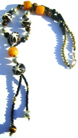 Batik and Amber Resin Necklace