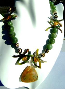 Handcrafted African Jade and Agate Necklace