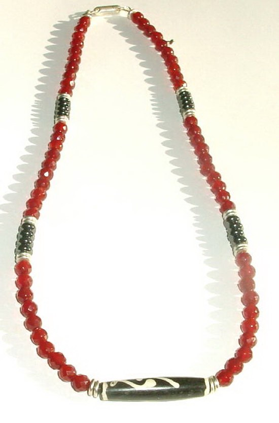 Mens Carnelian Beaded Necklace MN - CARN22612  $49.00