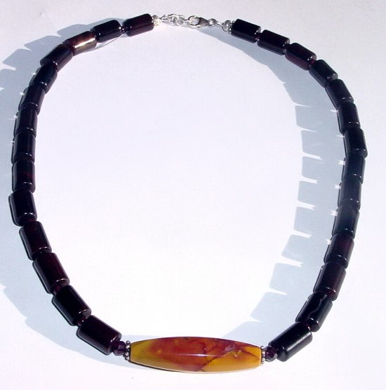 Mens Natural Agate and Mookaite Pendant necklace MN - MPN22712  $45.00