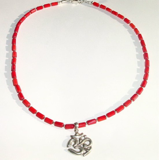OM Pendant Red Coral Necklace MN -CORAL30212   $59.00