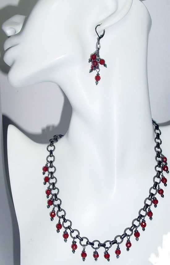 Striking Faceted Carnelian Necklace N_CBSFC30212    $65.00