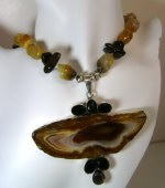 Handmade sliced Agate Pendant Necklace