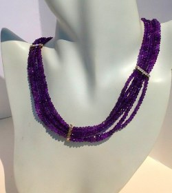 Faceted Amethyst Beaded Necklaces