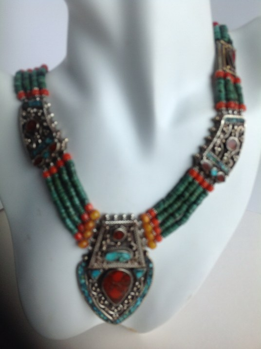 Ethnic Tibetan Coral & Turquoise Necklace