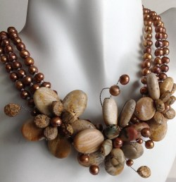Picture Jasper and Freshwater Pearls Necklace Handmade