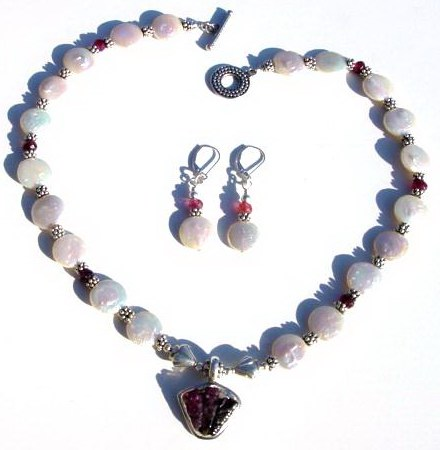 Coin Pearls and Tourmaline Necklace Set