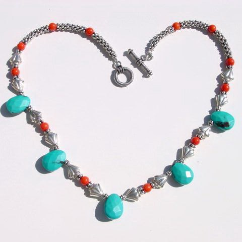 Coral and Turquoise drop Necklace