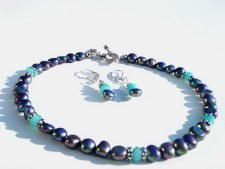 Freshwater pearls and Blue Topaz