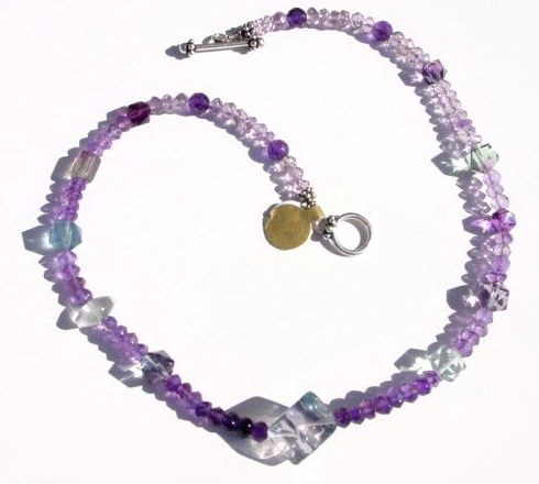 Flourite and amethyst necklace